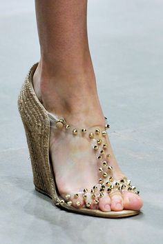 Louboutin #wedges #studs #gold