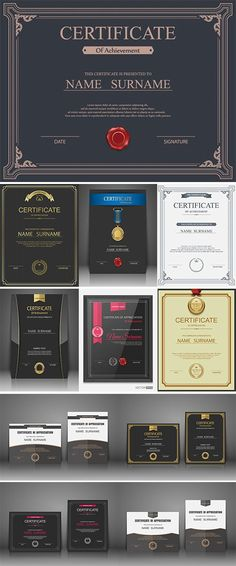 Vector certificate template - Stock vectors Certificate Model, Certificate Layout, Certificate Of Merit, Certificate Design Template, Certificate Of Achievement, Award Certificates, Book Design, App Design, Layout Design