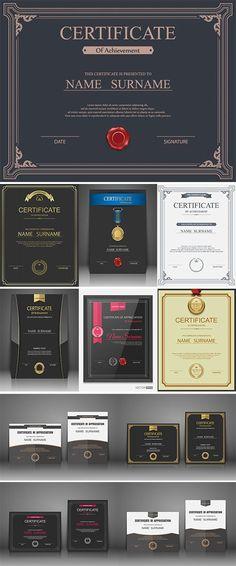 Vector certificate template - Stock vectors Certificate Model, Certificate Layout, Certificate Of Merit, Certificate Design Template, Certificate Of Appreciation, Certificate Of Achievement, Award Certificates, Book Design, App Design