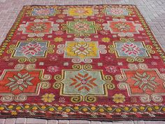 VINTAGE Turkish Kilim Rug Carpet Cicim Embroidered by sofART