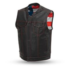 Ultra premium cowhide is used to make this unique born free American Flag club style vest by First MFG. Show your patriotism, American Flag satin lined vest with red top-stitch detail and a quick access concealed carry pocket. Motorcycle Leather Vest, Biker Leather, Motorcycle Outfit, Cowhide Leather, Leather Men, Motorcycle Wedding, Motorcycle Clubs, Sons Of Anarchy Vest, Denim Vests