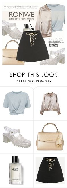 """""""Black Raw Hem Skirt"""" by lunaarmani ❤ liked on Polyvore featuring T By Alexander Wang, Pilot, MICHAEL Michael Kors, Bobbi Brown Cosmetics and Tiffany & Co."""