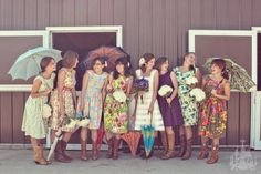 Pics of bridesmaids in vintage boho style dresses that don't match and look lovely. Perhaps wear an old dress of your Moms or Grandmas?