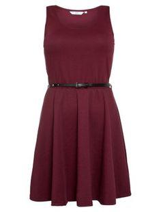 Dark Red Belted Skater Dress