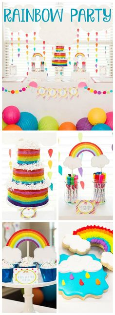 How colorful and gorgeous is this gender neutral rainbow baby shower! See more party ideas at CatchMyParty.com!