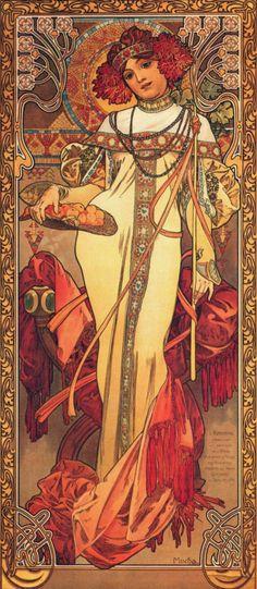 Alphonse Mucha, LES SAISONS: L'AUTOMNE. Art nouveau, 1900. Lithographie en couleurs.