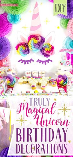 Truly Magical Unicorn Birthday Party Decorations DIY - By Press Print Party! Unicorn Cake, hair, Unicorn Party, unicorn crafts, Unicorn cupcake cake, unicorn printables. Unicorn Party ideas, theme, #unicornparty