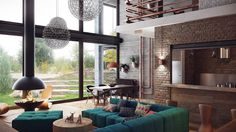 Amazing duplex loft-like interior visualization by talented Minsk, Belarus – based interior designer Alexander Uglyanitsa