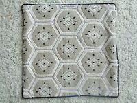 Pottery Barn Embroidered Cotton Linen Pillow Cover 20 X 20 EUC! Tan Black Ivory