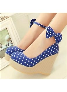 Details about Ladies Sweet Polka Dot Ankle Bow Espadrilles Wedge ...