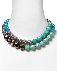 """Carolee Acapulco Paradise Nested Two Row Necklace, 17"""""""