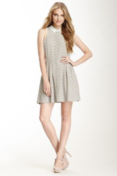 Silk Pleated Print Shirt Dress