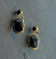 "Bask Black Diamond Drop Earrings - 18K gold and rose cut black diamond (8.2 TCW) drop earrings on post, approximately 7/8"" in length"