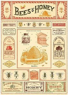 This fantastic poster features all the elements involved with honey production. Vintage advertisements, bee description and hives. Each sheet of wrapping paper Cheap Poster Prints, Art Prints, Honey Wrap, Honey Bee Hives, Honey Bees, Honey Bee Garden, Honey Label, Pattern Texture, Decoupage