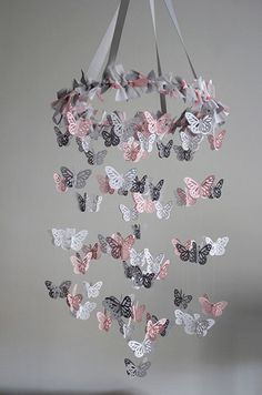 Butterfly Nursery Mobile  Pink Grey White Mobile by mauilustre, $49.00