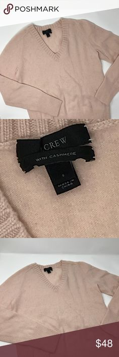 J. Crew dream V neck sweater Gently used condition , size small, light pink color. This classic V-neck looks and fits like a dream (hence the name). It's made from our special dream yarn—a supersoft cashmere blend that feels just heavenly.  Wool/nylon/cashmere in a 12-gauge knit. Chunky rib trim at neck. Rib trim at cuffs and hem. Dry clean. Import. Online only. Item 16799. J. Crew Sweaters V-Necks