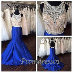 #promdress01 prom dresses - 2015 navy blue open back beaded long satin modest prom dress for teens, ball gown, occasion dress #prom2k15 #promdress -> www.promdress01.c... #coniefox #2016prom