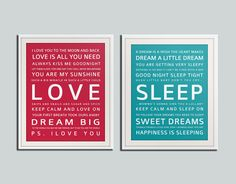Nursery art print. Baby nursery decor. Art for children typography art for kids. Nursery wall quotes. Set of 2 - 5x7 Cliche print $18