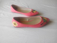 Hand Painted canvas shoes - bird and flower