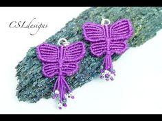 Macrame butterfly earrings - YouTube