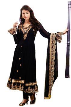 Shop Now - http://valehri.com/salwar-kameez/919-carbon-black-georgette-long-anarkali-salwar-suit.html