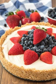 This is THE BEST NO BAKE CHEESECAKE RECIPE EVER! It's got a thick graham cracker crust and an easy filling and everyone loves it!