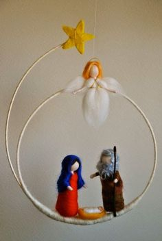 Christmas Wreath Waldorf inspired needle felted : Marie,Joseph the baby and angel (made to order) - Nadelfilzen Ideen Nativity Crafts, Christmas Nativity, Noel Christmas, All Things Christmas, Felt Crafts, Holiday Crafts, Christmas Wreaths, Christmas Decorations, Christmas Ornaments