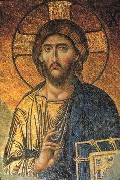 Detail of Christ Pantocrator mosaic, the Hagia Sophia, Constantinople (Istanbul), Turkey Religious Images, Religious Icons, Religious Art, Byzantine Icons, Byzantine Art, Byzantine Mosaics, Christus Pantokrator, Rome Antique, Jesus Face
