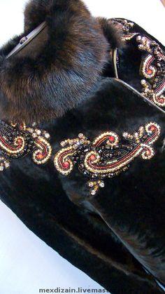 Купить куртка RED & BLACK - мех, мутон, вышивка, мех, мутон, мех и вышивка