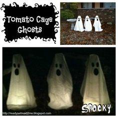 DIY Halloween Decorations, DIY ghost decorations, tomato cage ghosts, Halloween decor, ready set read, halloween activities for kids, halloween crafts for kids, fall crafts for kids
