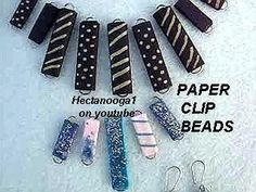 Flat Paper Beads from Paper Clips . Free tutorial with pictures on how to make an earring in under 10 minutes using paper clip, colored paper, and white glue. How To posted by Emi H. in the Jewelry section Difficulty: Easy. Jewelry Wall, Paper Bead Jewelry, Paper Earrings, Origami Jewelry, Make Paper Beads, How To Make Paper, How To Make Beads, Paperclip Crafts, Quilling Tutorial