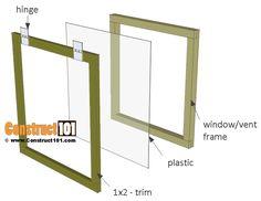 Greenhouse plans, 8'x8', vent/window parts.