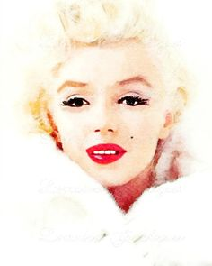 Marilyn Monroe in White:  A Watercolor Fine Art Print, Portrait for Marilyn Monroe Lovers, Classic Hollywood Decor