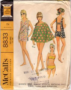 60s Beach Attire Vintage Pattern B 36 McCalls 8833 by ZipZapKap, $14.75