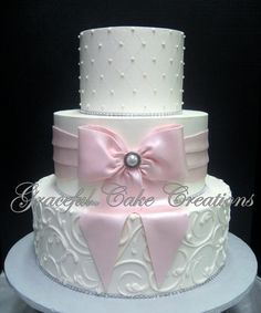https://flic.kr/p/RSj8mk | Elegant White Butter Cream Wedding Cake with a Blush Pink Fondant Sash and Bow with Bling