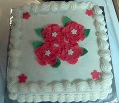 Buttercream with fondant flowers birthday cake