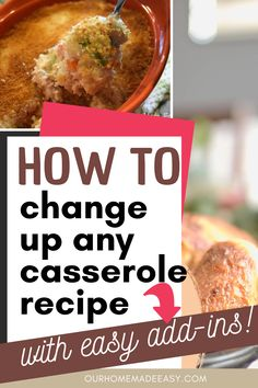 There's no denying that casseroles are some of the most comforting and easiest meals to make. Here are some easy ideas for switching up your casseroles with easy add-ins. You can have a different casserole every night! Pork Recipes For Dinner, Italian Dinner Recipes, Grilling Recipes, Chicken With Spaghetti Sauce, Healthy Casserole Recipes, Delicious Recipes, Easy Family Meals, Easy Meals, Easy No Bake Desserts