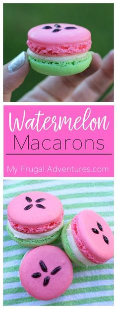 Watermelon Macaron Recipe- such a fantastic homemade gift or make a batch for your next party! (make birthday cake dessert recipes) Macaron Video, Macaron Caramel, Macaroon Cookies, Unicorn Macarons, Nutella Macarons, Shortbread Cookies, Coconut Dessert, French Macaroons, Watermelon Recipes