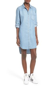 Free shipping and returns on Sneak Peek Chambray Shirtdress at Nordstrom.com. Soft, faded chambray defines a laid-back shirtdress cut in a relaxed, flattering silhouette and framed with cute roll-tab sleeves for added styling versatility.
