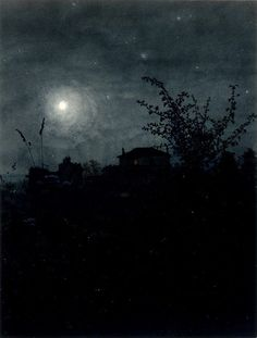 Moonlight Scene by Léon Bonvin (Note: Leon Bonvin, was a largely self-taught French watercolorist whose work was distinctive in looking almost like a photograph. Nocturne, Memes Arte, Moonlight Painting, Moon Art, Landscape Paintings, Sky Landscape, Painting & Drawing, Images, Illustration Art