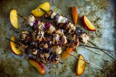 Grilled Nectarine Balsamic Chicken Skewers - serve with quinoa mint, zucchini and cranberry salad - SS Allergy Free Recipes, Diet Recipes, Healthy Recipes, Grilled Recipes, Vinegar Chicken Marinade, Balsamic Vinaigrette Recipe, Balsamic Chicken Recipes, Chicken Skewers, Unprocessed Food
