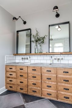 Modern master bathroom renovation ideas, farmhouse bathroom vanity with rustic wood bathroom vanity and marble counter with white subway tile, fixer upper bathroom design