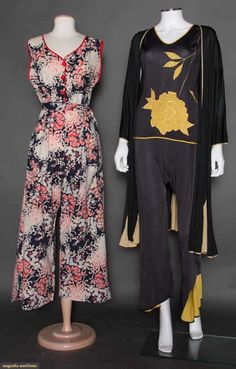 "Two Pair Lounging Pjs, C. 1930 - I've often read about ""lounging pajamas"" in novels. So this is what they look like."