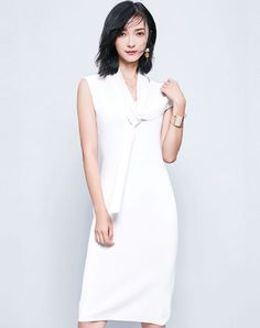 White Sleeveless V-neck Midi Sheath Dress
