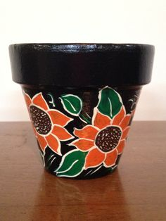 Hand Painted 4 Inch Decorative Flower Pot Fl Design Sun Black Background Home Decor And Gardening
