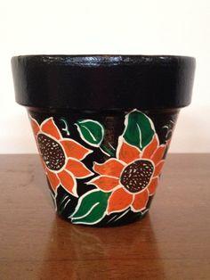 Hand Painted 4 Inch Decorative Flower Pot Fl Design Sun Black Background Home Decor And Gardening