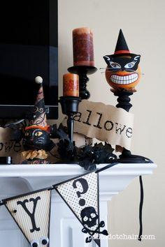 50 of the best Halloween Home Decor Ideas! Halloween Ideas and Fall Home Decor Ideas. Spooky and neutral halloween home decor ideas. Halloween Mantel, Halloween Home Decor, Halloween House, Holidays Halloween, Spooky Halloween, Vintage Halloween, Halloween Crafts, Happy Halloween, Halloween Decorations
