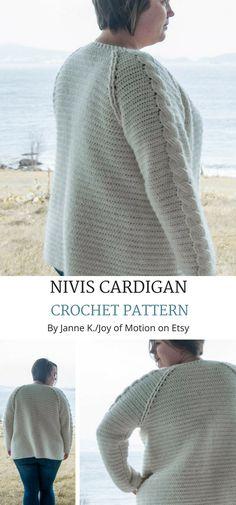 Nivis Cardigan Crochet Pattern on Etsy. Crochet Cardigan intermediate. Crochet cardigan women. Crochet cardigan tutorial. Crochet cardigan outfit. #crochetpattern #crochet  #etsy #crochetcardigan #cardigancrochetpattern #cardigancrochet