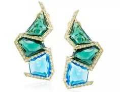 Marcia Budet blue topaz and green quartz earrings #brittspick @marciabudet