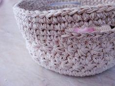 OOAK Crochet Basket, Handmade Soft Basket, Jewelry Dish Storage, Beige Basket with Handles, Storage containers, Organizer, Ready to Ship